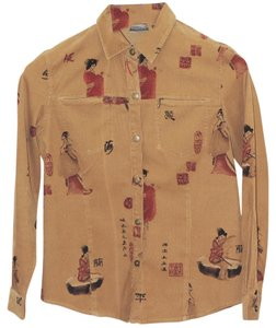 Chico's Corduroy Geisha Button Down Shirt Brown