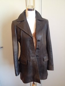 Banana Republic Duster Leather Distressed Midcalf Leather Dark Brown Leather Jacket