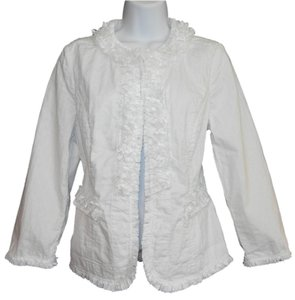 Chico's Fringed Fitted White Blazer