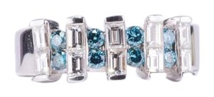 Other 18K White Gold Baguette and Blue Diamond Ring