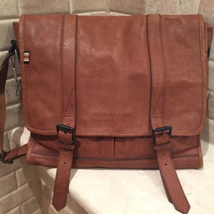 Burberry Textured Front Flap Leather Tan Messenger Bag