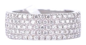 14K White Gold Diamond Ring in Micro Pave