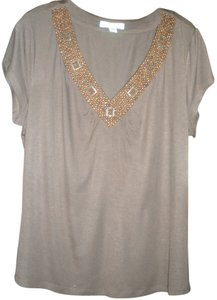 Coldwater Creek Beaded Cap Sleeve V-neck T Shirt Brown