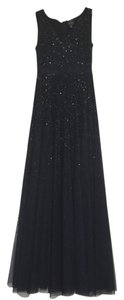Adrianna Papell Sequin Gown Tulle V-neck Dress
