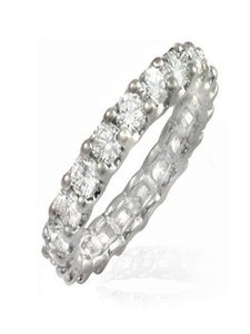 3 Carats Shared Prongs Belgium Cut Diamond Eternity Band In Platinum Sizes 4 To 10.