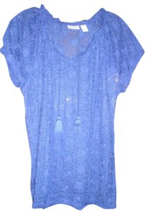Chico's Lace Sheer Cap Sleeve Top Purple