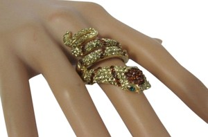 Other Women Wrap Gold Metal Long Snake Fashion Ring Elastic Band Brown Rhinestones