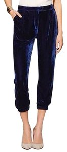 Sabine Navy Velvet Cropped Luxe Pants