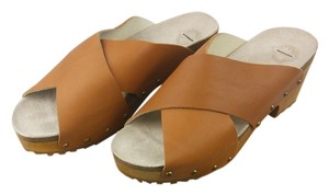 Ecote Wooden Leather Tan Mules