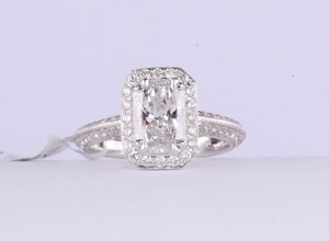 18k White Gold Radiant-cut Diamond Engagement Ring W Micro Pave Halo