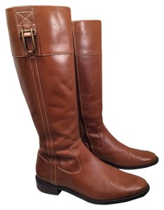 12997a4618a Anne Klein Tan Leather Riding Equestrian Chic Casino Brown Boots