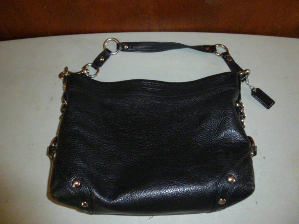 44e26a6a3e37 Coach Carly Large Silver Chain Studs 15251 Black Leather Shoulder Bag -  Tradesy