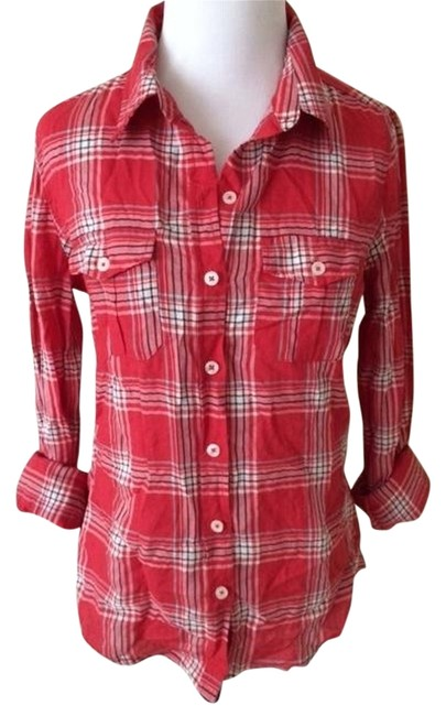 Forever 21 Red Plaid Button Down Shirt