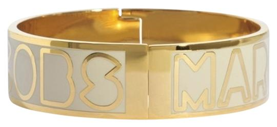 Marc by Marc Jacobs Gold & White Marc by Marc Jacobs Logo Bangle Bracelet