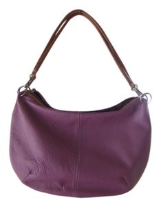 Maxx New York Pebbled Purple Leather Trim Zipper Boho Chic Shoulder Bag