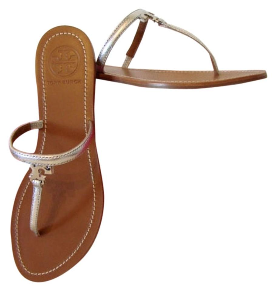 666bdd5aa4a62c Tory Burch Silver T Logo Saffiano Leather Thong Sandals Flats Size ...