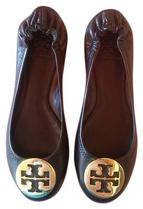 Tory Burch Signature Black With Gold Ornament Flats