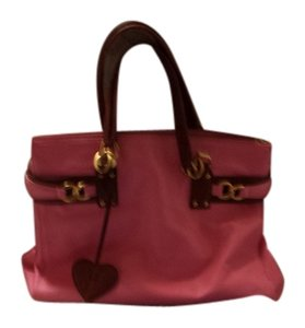 Juicy Couture Tote Leather Satchel in pink with brown and gold detailing