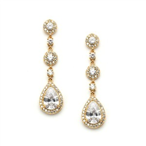 Gold Stunning 14k Brilliant Crystal Pear Drop Earrings