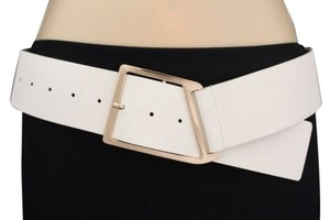 Other Women Belt White Big Gold Metal Square Buckle Plus Size
