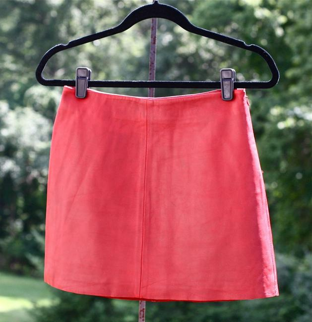 Esprit Mini Leather Mini Skirt Red