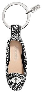 Coach Coach RARE Signature Ballet Flat Black/White Leather Key Chain Charm