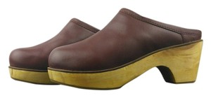 Urban Outfitters Leather Wooden Clog Mule Wine Mules