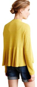 Anthropologie Moth Textured Lightweight Yellow Open Front Cardigan