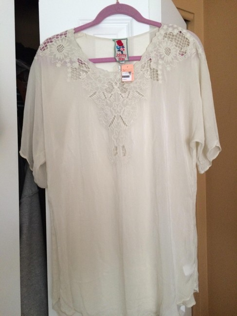 Johnny Was Boho Hippie Lace Summer Scalloped Tunic