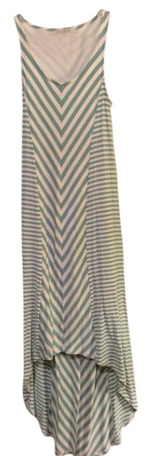 Item - Aqua and White Summer High-low Casual Maxi Dress Size 4 (S)