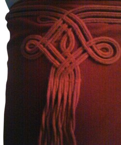 Jean-Paul Gaultier Made In Italy Wrap Embroidered Skirt Burgundy/Maroon