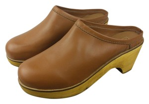 Urban Outfitters Leather Wooden Clog Mule Brown Mules