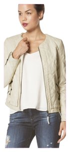 Other Black Biker Faux Beige Leather Jacket