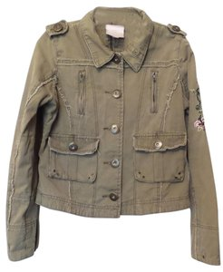 Romeo & Juliet Couture Army Distressed Raw Edges Fitted Khaki w/ Multi-Color Embroidery Jacket