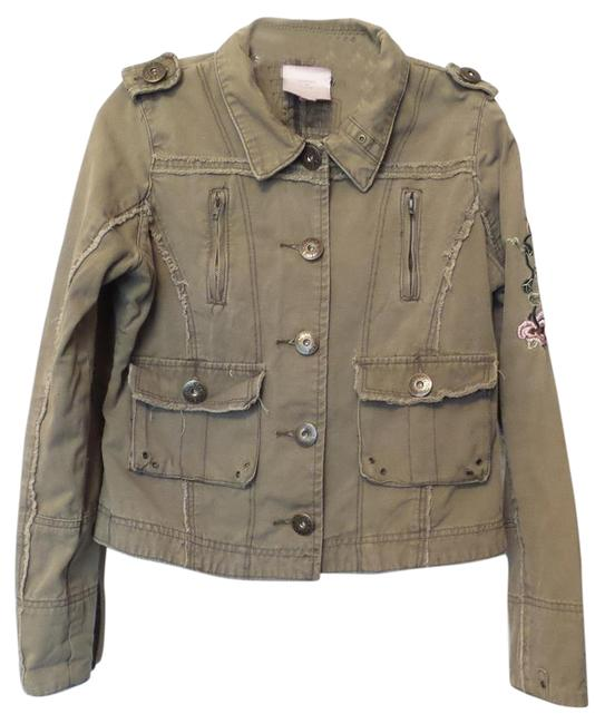 Item - Khaki W/ Multi-color Embroidery Nordstrom Distressed Beaded Studded Army Style Jacket Size 12 (L)