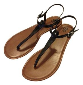 Social Occasions by Mon Cheri So Patent Leather Strappy Summer Black and Tan Sandals