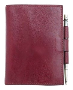 Hermès Authentic Hermes Bordeaux Courchevel Mini Agenda w/ Hermes Sterling Silver Pen