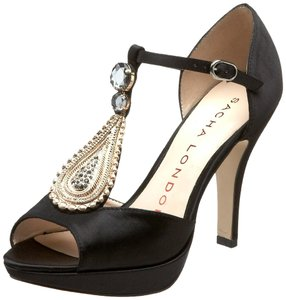 Sacha London Satin Evening Black Sandals