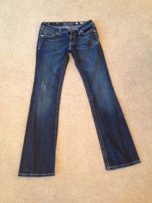 Miss Me Flare Dark Distressed Long Boot Cut Jeans-Distressed
