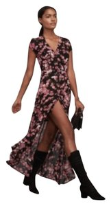 Black with floral pattern Maxi Dress by Reformation Maxi Sexy Button