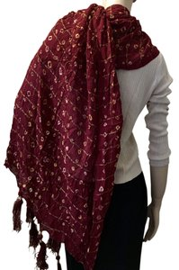 Other Indian Red Cotton with Gold Thread Scarf/Shawl With Tassels