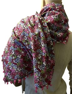 Liberty of London Liberty of London Flowered & Tasseled Cotton Shawl/Scarf