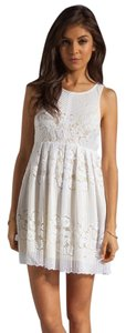 Free People short dress white / yellow Designer Boho Chic on Tradesy