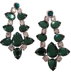 CC SKYE CC Skye Green and White Crystal Teardrop Earrings