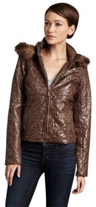 Romeo & Juliet Couture Crushed Velvet Faux Fur Motorcycle Jacket