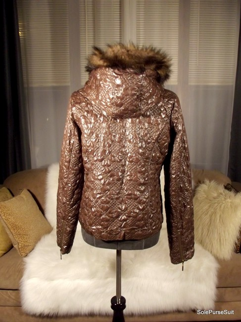 Romeo & Juliet Couture Crushed Faux Fur Detachable Hood Zip Cuffs Quilted Motorcycle Jacket