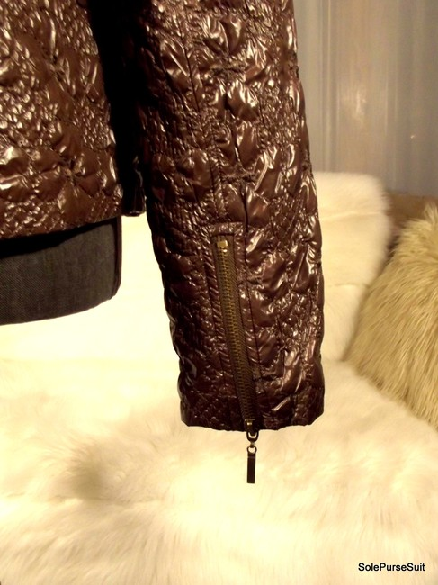 Romeo & Juliet Couture Crushed Velvet Faux Fur Detachable Hood Zip Cuffs Quilted Motorcycle Jacket