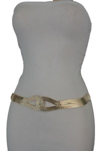 Other Women Gold Mesh Braided Metal Fashion Belt Hip High Waist Infinity Plus