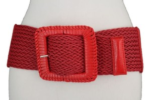 Other Women Red Elastic Fashion Wide Belt Stretch Hip High Waist Big Square Buckle