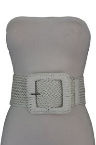 Other Women White Elastic Fashion Wide Belt Stretch Hip High Waist Square Buckle